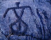 "Native Hawaiian petroglyph in pahoehoe lava at Puuloa, the ""hill of long life,"" Hawaii Volcanoes National Park, Big Island of Hawaii."