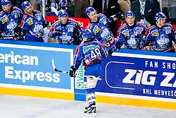 Team KHL Medvescak Zagreb celebrate during ice-hockey match between KHL Medvescak Zagreb and HK Acroni Jesenice in 39th Round of EBEL league, on Januar 8, 2012 at Arena Zagreb, Zagreb, Croatia. (Photo By Matic Klansek Velej / Sportida)