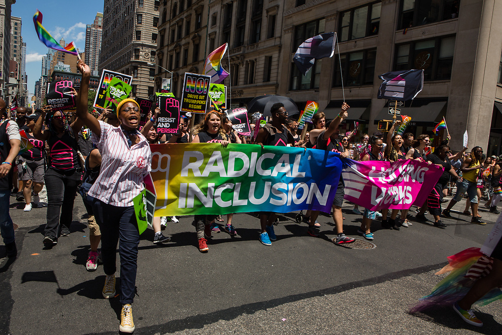 New York, NY - 25 June 2017. New York City Heritage of Pride March filled Fifth Avenue for hours with groups from the LGBT community and it's supporters. Marchers from Housing Works, a New York non-profit fighting AIDS and homelessness.