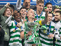 Football - 2019 Betfred Scottish League Cup Final - Celtic vs. Rangers<br /> <br /> Scott Brown of Celtic lifts the trophy, Hampden Park Glasgow.<br /> <br /> COLORSPORT/BRUCE WHITE
