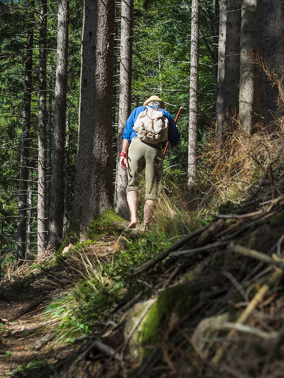 Rear view of senior man hiking in Middle Black Forest Baden-Wuerttemberg, Germany