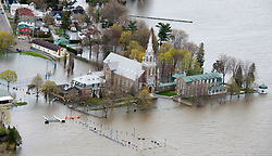 A church is surrounded by flood waters on Monday, May 8, 2017 in Oka, Quebec, Canada., northwest of Montreal. Photo by Paul Chiasson /The Canadian Press/ABACAPRESS.COM