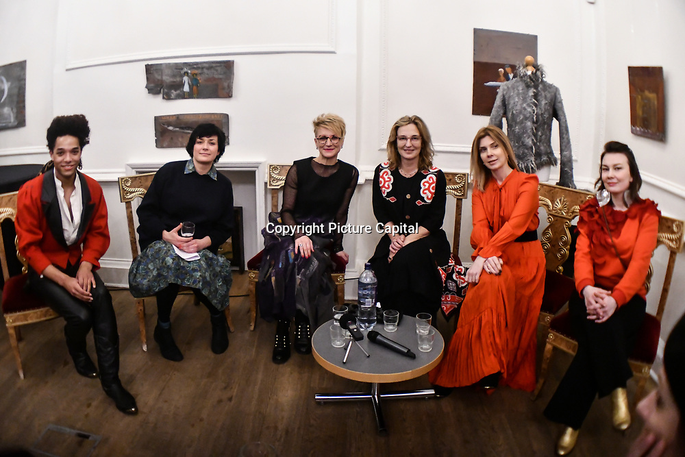 """Daily wear of Russian heritage catwalk show and talks of the SOLD OUT: Identity & Future in Russian Fashion by Designers Daria Razumikhina, Razu Mikhina and Polina Magiy, a UK based  footwear designer with Russian heritage and exhibition by Tatiana Ashakova is a headwear and accessory brand """"BeretkAhat"""" and Polina Magiy at Pushkin house, London, UK. 19 Feb 2019"""