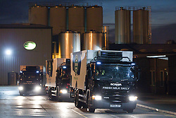 © licensed to London News Pictures . 27/07/2012 . Manchester , UK . General view ( GV ) of Robert Wiseman lorries at the dairy in Trafford Park . Protesting farmers blockade Robert Wiseman Dairies in Trafford Park , Manchester . Protesters said Robert Wiseman had not increased the price they paid for their milk and were intending to reduce the price in August . A worker at Robert Wiseman reported that 99 milk delivery lorries were prevented from leaving the depot by the blockade . Photo credit : Joel Goodman/LNP