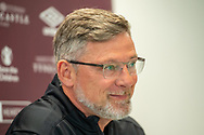 Heart of Midlothian manager Craig Levein smiles as he speaks to the press ahead of the Betfred Scottish League Football Cup quarter-final match against Aberdeen, at Oriam Sports Performance Centre, Heriot Watt University, Edinburgh Scotland on 24 September 2019. Picture by Malcolm Mackenzie