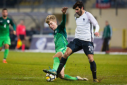 Ziga Lipuscek of Slovenia and Martin Terrier of France during football match between Slovenia and France in Qualifying round for European Under-21 Championship 2019, on November 13, 2017 in Sportni park, Domzale, Slovenia.  Photo by Ziga Zupan / Sportida