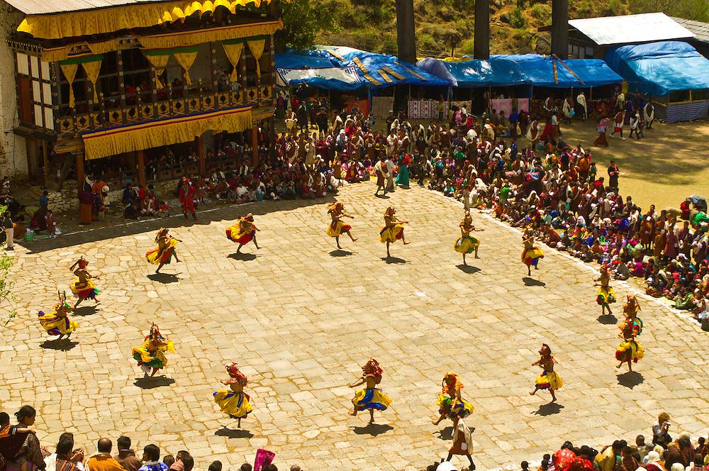 Dance of the Three Kinds of Ging with Sticks, Paro Tsechu (Festival), Paro, Bhutan