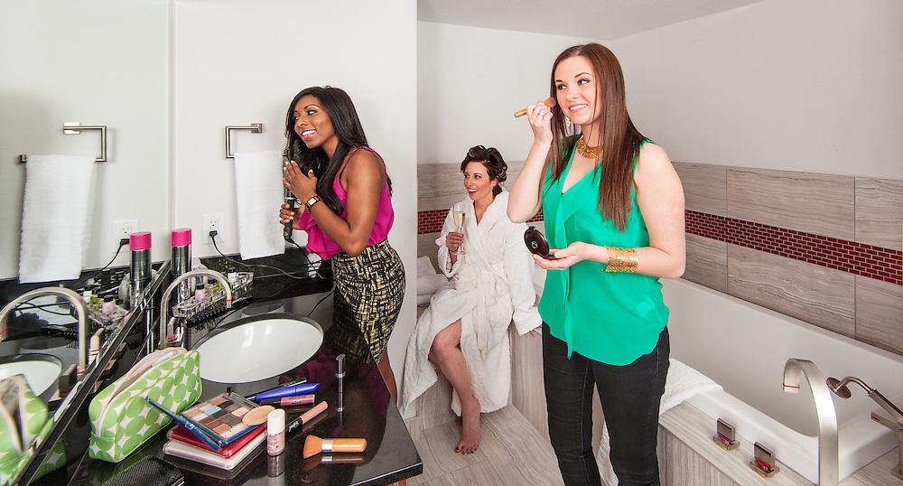 Girls getting ready for a night on the town. <br /> Client: Hotel Elan<br /> Art Director: Brett Gilmour<br /> Stylist: Judith Aldama<br /> Hair & Makeup: Shannon Payne<br /> Photographer: Brett Gilmour