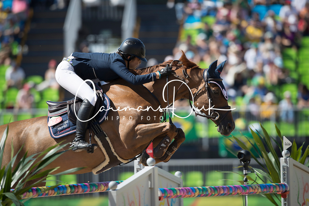 Wong Isheau, TPE, Zadarijke V<br /> owner of the horse of Jerome with arms in the air<br /> Olympic Games Rio 2016<br /> © Hippo Foto - Dirk Caremans<br /> 14/08/16
