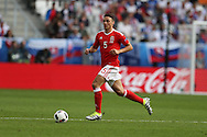 James Chester of Wales in action.Euro 2016, Wales v Slovakia at Matmut Atlantique , Nouveau Stade de Bordeaux  in Bordeaux, France on Saturday 11th June 2016, pic by  Andrew Orchard, Andrew Orchard sports photography.