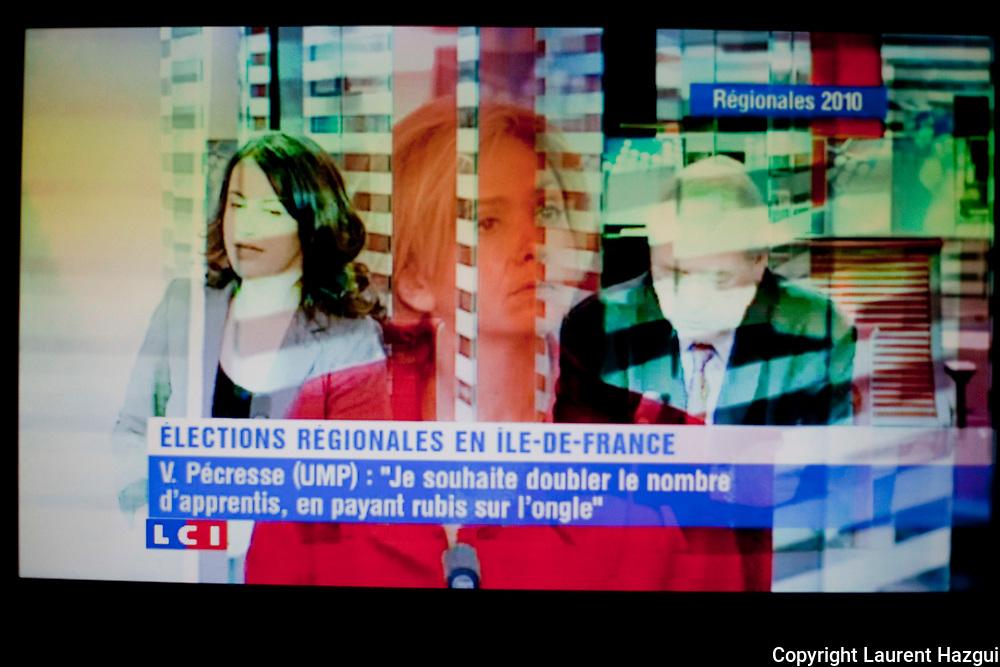 8 fŽvrier 2010. Boulogne Billancourt (Hauts-de-Seine). DŽbat tŽlŽvisŽ sur LCI entre candidats aux Žlections rŽgionales en Ile-de-France. ValŽrie Pecresse (UMP), Jean-Paul Huchon (PS), CŽcile Duflot (Europe Žcologie).