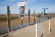 Signs for seal trip boat trips, Blakeney, Norfolk, England