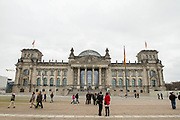 """The front facade of the Reichstag building seat of the German lower house of parliament """"Bundestag"""" in Berlin, Germany, April 05, 2012."""