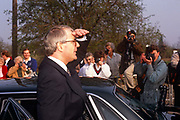 British Prime Minister, John Major looks into the distance while outside his constituency polling station while seeking re-election after replacing Margaret Thatcher, on 9th April 1992, Huntingdon, England. Major went on to win the election and was the fourth consecutive victory for the Conservative Party although it was its last outright win until 2015 after Labours 1997 win for Tony Blair.