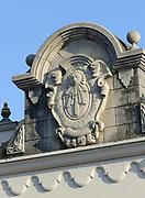 Sundial inscribed 'Ave Maria PVR' on a building. Antigua Guatemala, Republic of Guatemala. 03Mar14