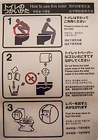 Toilet instructions are given, in several languages.  Japan makes some of the world's most sophisticated toilets. Japanese toilets took a giant leap into the future in toilet technology when the country was introduced  to the first bidet-equipped toilet seat, known as the Washlet. This bidet/sprayer is now standard in more than half of Japanese homes. The Japanese are very candid and matter-of-fact about toilets, in contrast to other countries who make up euphemisms just to avoid even saying the word. Excuse me, but I have to go visit the smallest room now.