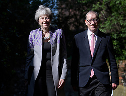 © Licensed to London News Pictures. 21/04/2019. Maidenhead, UK. British Prime Minister THERESA MAY and her husband PHILIP MAY, attend an Easter Sunday church service in her constituency. Photo credit: Ben Cawthra/LNP
