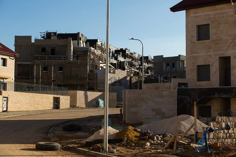A general view of construction work in Givat HaTamar neighborhood of the West Bank Jewish settlement of Efrat in the Gush Etzion settlement bloc, which is situated on the southern outskirts of the Palestinian West Bank city of Bethlehem, on December 30, 2016.