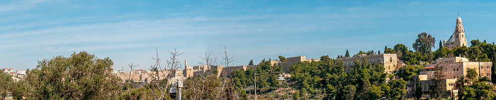 Panoramic view of the walls of the Old City of Jerusalem from Zion Gate [Abbey of the Dormition] (right) to Jaffa Gate [Tower of David] on the left