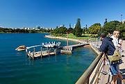 Sydney Water Taxi leaving the Man O' War Steps jetty. Bennelong Point, Sydney, Australia