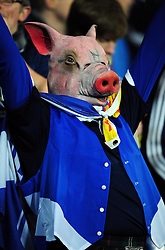 Scotland fans are pig sick after seeing a one goal lead turn in to  a 2 -1 defeat - Photo mandatory by-line: Joe Meredith/JMP  - Tel: Mobile:07966 386802 12/10/2012 - Wales v Scotland - SPORT - FOOTBALL - World Cup Qualifier -  Cardiff   - Cardiff City Stadium -