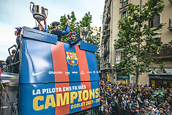 April 30, 2018 - Barcelona, Catalonia, Spain - FC Barcelona's LUIS SUAREZ and ANDRES INIESTA greet the fans during the FC Barcelona's open top bus victory parade after winning the LaLiga with their eighth double in the club history. (Credit Image: © Matthias Oesterle via ZUMA Wire)