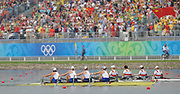 Shunyi, CHINA.  GBR W4X, Bow, Annie VERNON, Debbie FLOOD, Frances HOUGHTON and katherine GRAINGER,  winning the Silver, beating GER W4X into bronze medal, at the 2008 Olympic Regatta, Shunyi Rowing Course.  Sun 17.08.2008.  [Mandatory Credit: Peter SPURRIER, Intersport Images
