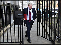 January 30, 2018 - London, London, United Kingdom -  Boris Johnson MP, Foreign Secretary arrives in Downing Street as Cabinet Ministers arrive at Number 10 for the weekly Cabinet Meeting takes place. (Credit Image: © Pete Maclaine/i-Images via ZUMA Press)