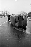 16/02/1963<br /> 02/16/1963<br /> 16 February 1963<br /> Volkswagen van overturned at Griffith Avenue, Dublin.<br /> The driver of this van made scrambled eggs of his load when he overturned at the junction of Griffith Avenue and Upper Drumcondra Road.