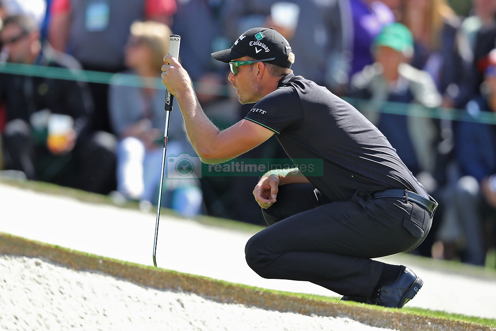 April 8, 2018 - Augusta, GA, USA - Henrik Stenson lines up his birdie putt on seven during the final round of the Masters at Augusta National Golf Club on Sunday, April 8, 2018, in Augusta, Ga. (Credit Image: © Curtis Compton/TNS via ZUMA Wire)
