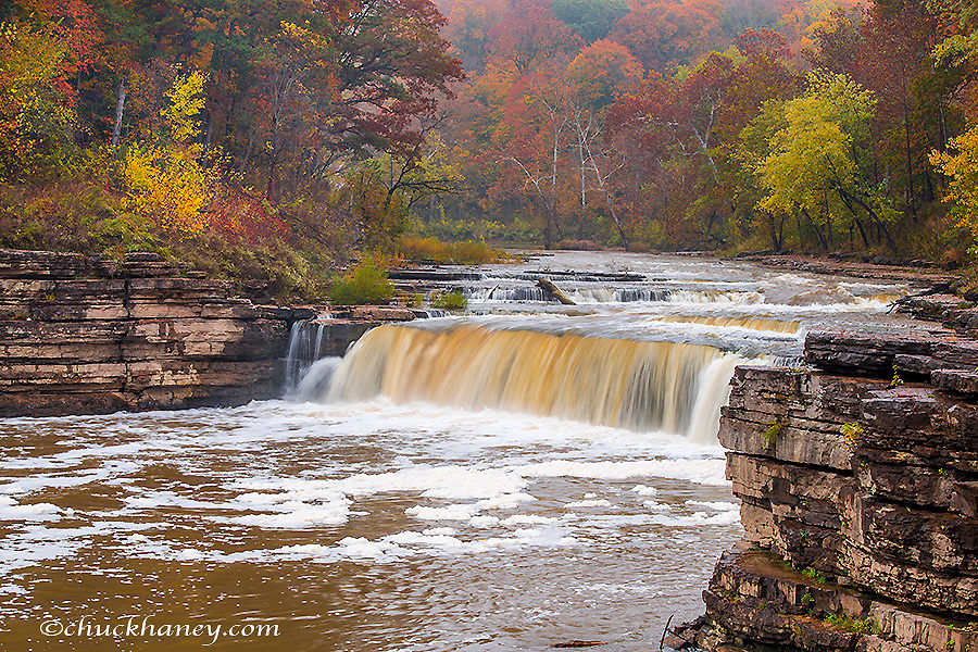 Lower Cataract Falls on Mill Creek in autumn at  Lieber State Recreation Area near Cloverdale, Indiana, USA