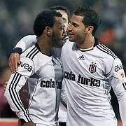 Besiktas's Manuel FERNANDES (L) celebrate his goal with Ricardo QUARESMA (R) during their Turkey Cup quarter final soccer match Besiktas between Gaziantepspor BSB at the Inonu stadium in Istanbul Turkey on Wednesday 02 February 2011. Photo by TURKPIX