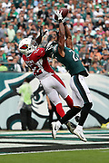 Philadelphia Eagles defensive back Patrick Robinson (21) leaps and breaks up a fourth quarter end zone pass intended for Arizona Cardinals wide receiver John Brown (12) during the 2017 NFL week 5 regular season football game against the against the Arizona Cardinals, Sunday, Oct. 8, 2017 in Philadelphia. The Eagles won the game 34-7. (©Paul Anthony Spinelli)