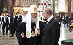 July 30, 2017 - Saint Petersburg, Russia - July 30, 2017. - Russia, Saint Petersburg. - Russian President Vladimir Putin visits St. Nicholas Naval Cathedral in Kronstadt on Russian Navy Day. Left: Patriarch Kirill of Moscow and All Russia. (Credit Image: © Russian Look via ZUMA Wire)