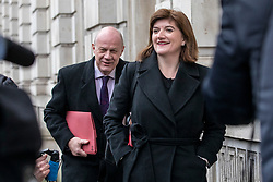 © Licensed to London News Pictures. 04/02/2019. London, UK. Former Cabinet Ministers Damian Green (L) and Nicky Morgan (R) arrives at the Cabinet Office for a meeting of the Alternative Arrangements Working Group on Brexit. Photo credit: Rob Pinney/LNP