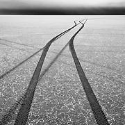 Separate paths along the Bonneville Salt Flats.