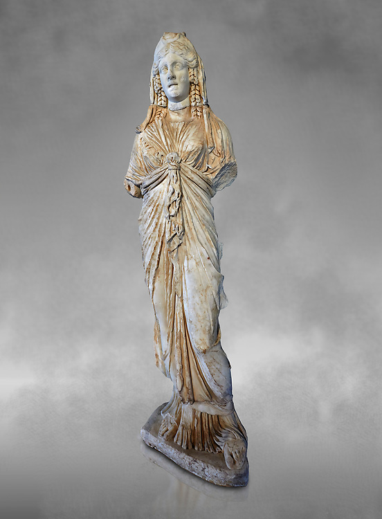 Roman statue of Priestess of Isis,  2nd century AD from Hierapolis. Hierapolis Archaeology Museum, Turkey .<br /> <br /> If you prefer to buy from our ALAMY STOCK LIBRARY page at https://www.alamy.com/portfolio/paul-williams-funkystock/greco-roman-sculptures.html- Type - Hierapolis - into LOWER SEARCH WITHIN GALLERY box - Refine search by adding a subject, place, background colour, museum etc.<br /> <br /> Visit our CLASSICAL WORLD HISTORIC SITES PHOTO COLLECTIONS for more photos to download or buy as wall art prints https://funkystock.photoshelter.com/gallery-collection/The-Romans-Art-Artefacts-Antiquities-Historic-Sites-Pictures-Images/C0000r2uLJJo9_s0c