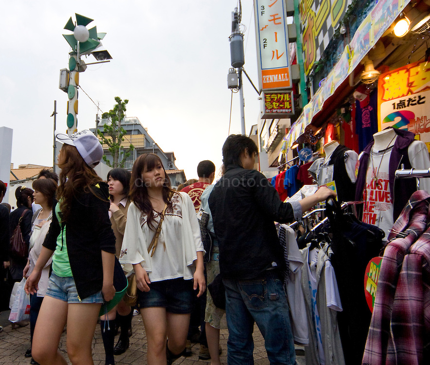 """Shoppers in Harajuku, Tokyo, Japan. Harajuku is reknowned for its outrageous youth fashions and """"bo beep"""" girls. Editorial Only"""