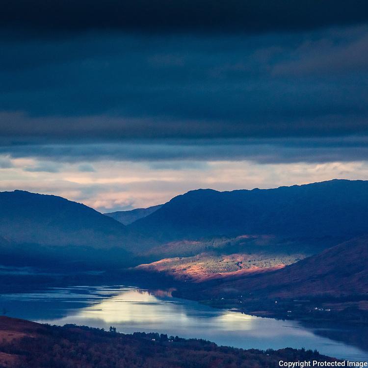 8.41am Loch Eil from Carn Dearg Meadhonach, Highland, Scotland.