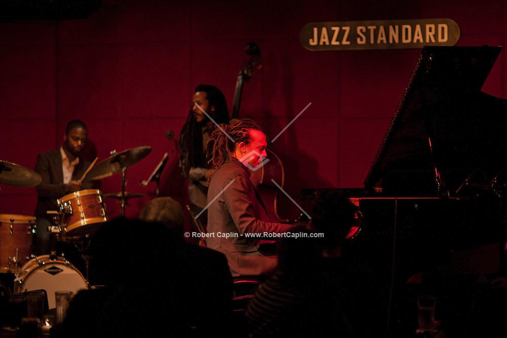 The Pedrito Martinez Trio perform at the Jazz Standard in New York. ....Photo by Robert Caplin...