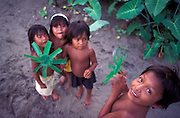 """Children of the Choco-Uraba region make toy """"helicopters"""" from plastic cups, surrounded by their jungle habitat."""