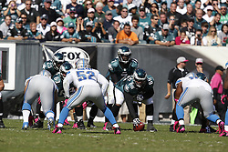 Philadelphia Eagles quarterback Michael Vick (7) takes a snap during the NFL game between the Detroit Lions and the Philadelphia Eagles on Sunday, October 14th 2012 in Philadelphia. The Lions won 26-23 in Overtime. (Photo by Brian Garfinkel)
