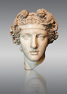Roman sculpted head of Dionysus inspired by a Hellenistic original. Found in the Horti Lamiani near the Piazza Vittorio Emanuele, Rome. M.C. Inv 1129, The Capitoline Museums, Rome ...<br /> <br /> If you prefer to buy from our ALAMY STOCK LIBRARY page at https://www.alamy.com/portfolio/paul-williams-funkystock/greco-roman-sculptures.html . Type -    Capitoline    - into LOWER SEARCH WITHIN GALLERY box - Refine search by adding a subject, place, background colour, etc.<br /> <br /> Visit our ROMAN WORLD PHOTO COLLECTIONS for more photos to download or buy as wall art prints https://funkystock.photoshelter.com/gallery-collection/The-Romans-Art-Artefacts-Antiquities-Historic-Sites-Pictures-Images/C0000r2uLJJo9_s0