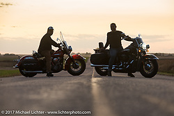 Editor Matt King on a 2018 Harley-Davidson Heritage Classic with it's Milwaukee-8 engine in the new Softail frame with Matt Olsen of Carl's Cycle on his 1949 Harley-Davidson EL Panhead for a feature in Hog Magazine. Aberdeen, SD. USA. Saturday October 7, 2017. Photography ©2017 Michael Lichter.