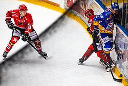 22# Erik Svetina of Jesenice during ice hockey match between HK SIJ Acroni Jesenice and Asiago Hockey in Round #3 of Alps Hockey League 2018/19 , on September 22, 2018 in Podmezakla hall , Jesenice, Slovenia. Photo by Urban Meglic / Sportida