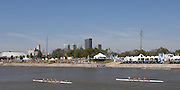 Oklahoma, USA,   Sat morning, USA and CAN W4x final of the USA World Rowing Challenge,  both crews approaching the @k finish line, on The Oklahoma River, Oklahoma City,  Sat. 13/10/2007 [Mandatory Credit. Peter Spurrier/Intersport Images]..... , Rowing Course: Oklahoma River, Oklahoma City, Oklahoma, USA