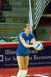 26 September 2006: Billikens Lauren Christman prepares to serve. The match was tough and it took the Illinois State Redbirds 5 games to defeat the St. Louis University Billikens. The match took place at Redbird Arena on the campus of Illinois State University in Normal Illinois.