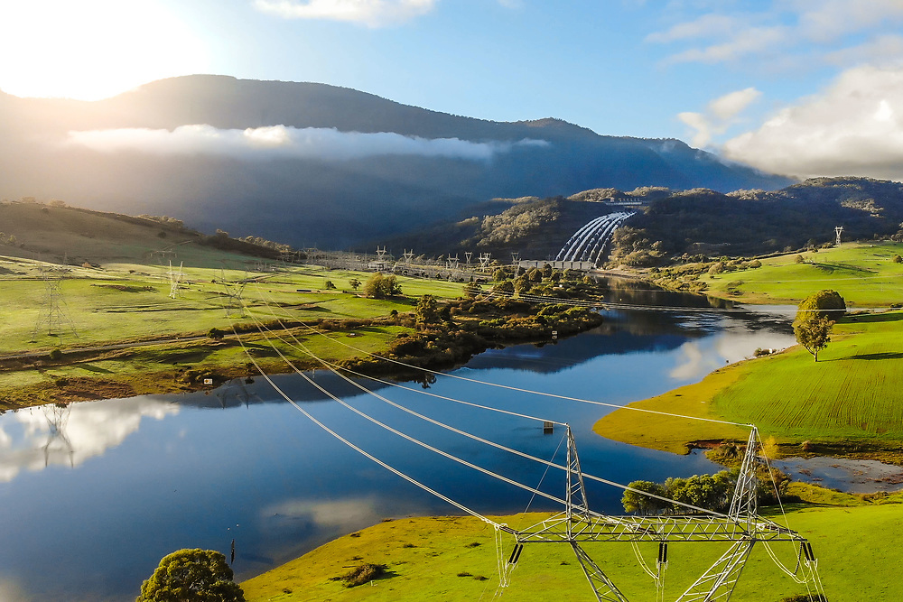 Scenic shot of the Tumut 3 power station and the wider Talbingo area