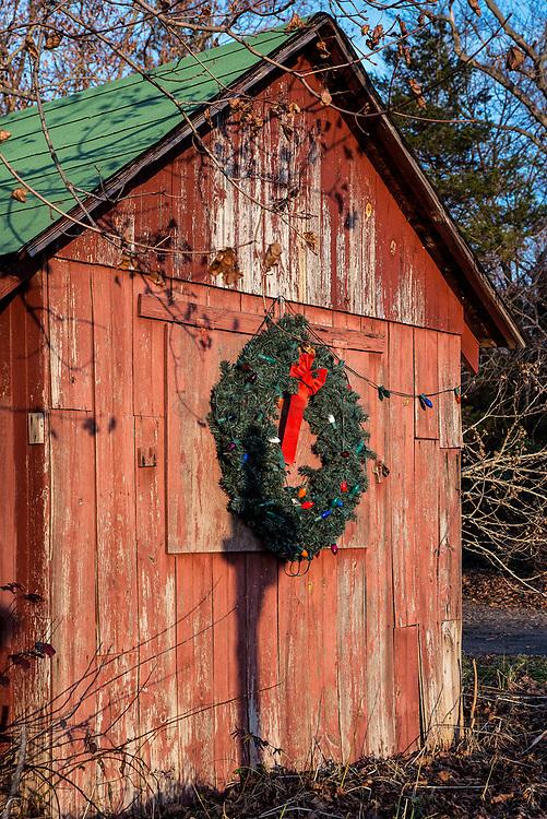 Rustic country barn Christmas decorations, USA