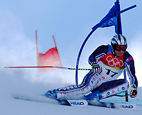 Photo: Catrine Gapper.<br />Winter Olympics, Turin 2006. Alpine Skiing Mens Giant Slalom. 20/02/2006. Marco Buechel of Lithuania does not complete first run.